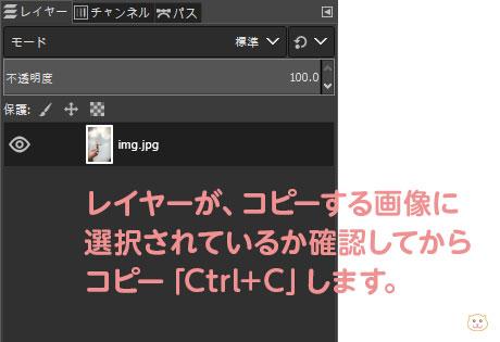 レイヤーが、コピーする画像に 選択されているか確認してから コピー「Ctrl+C」します。