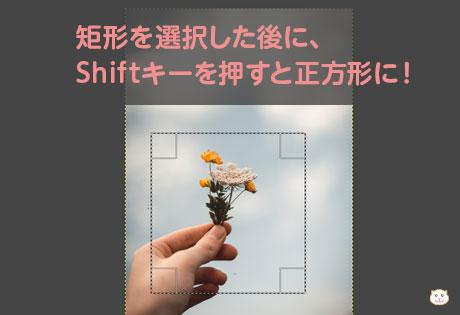 矩形を選択した後に、 Shiftキーを押すと正方形に!