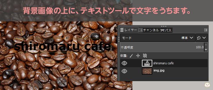 背景画像の上に、テキストツールで文字をうちます。